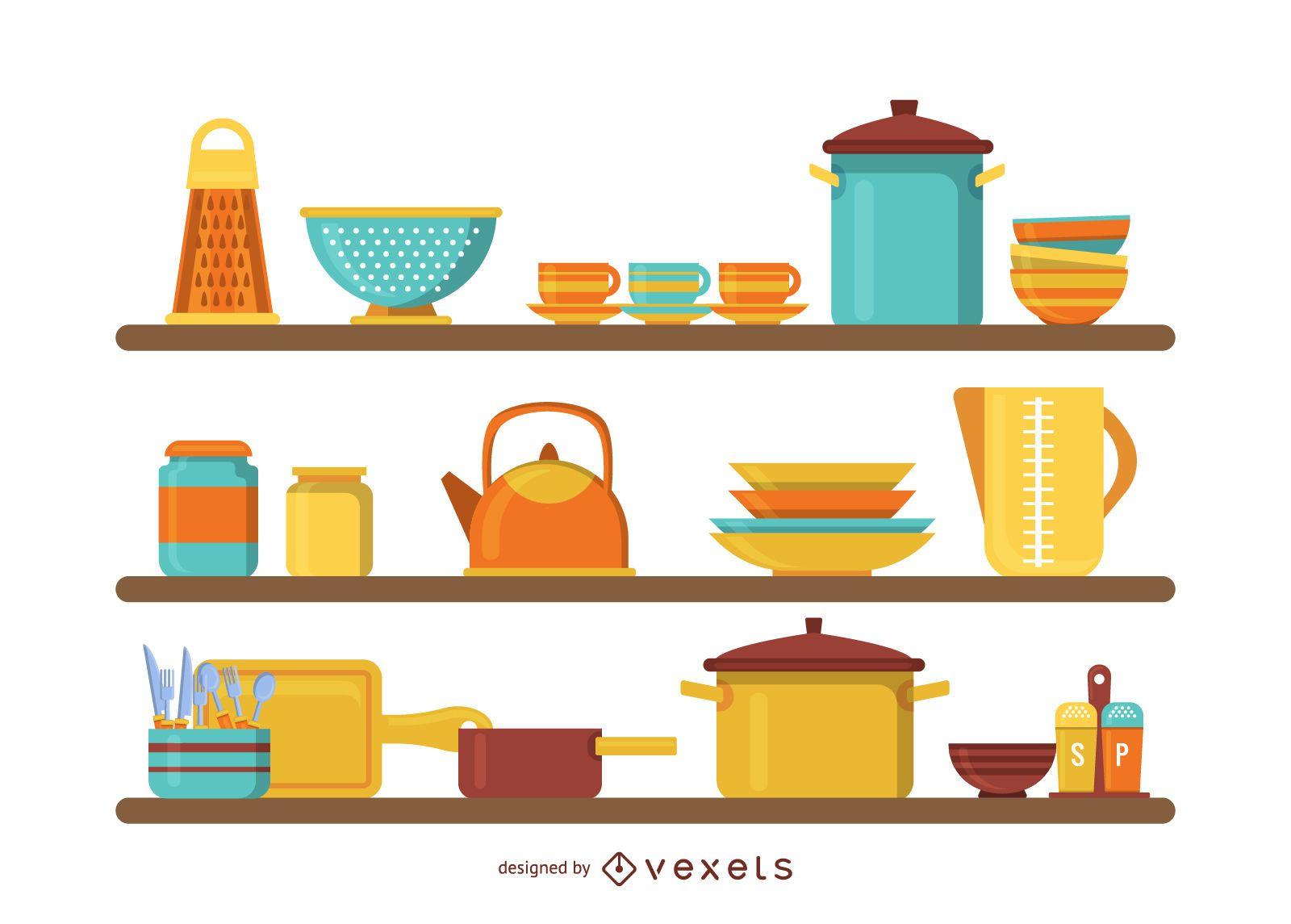 Kitchen shelves illustration