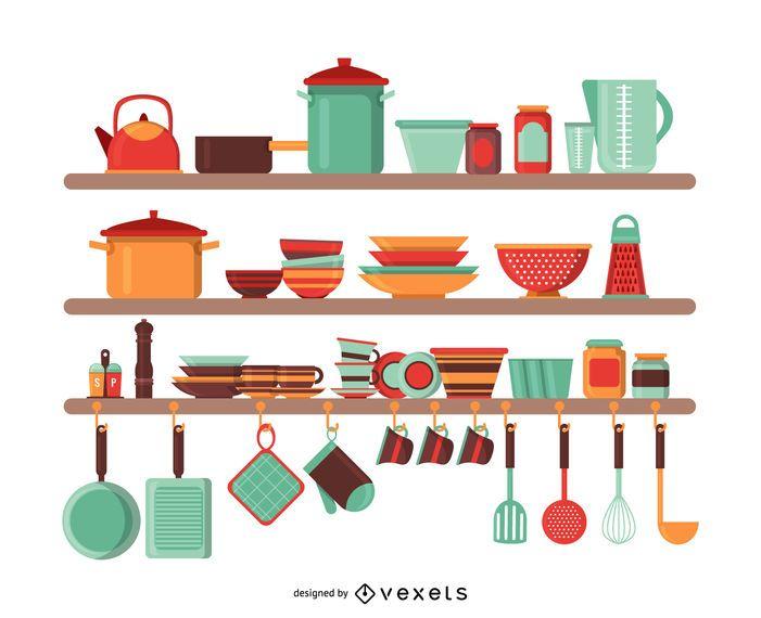 Ilustraci n de utensilios de cocina descargar vector for Utensilios de cocina casa joven