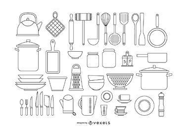 Conjunto de trazos de herramientas de cocina