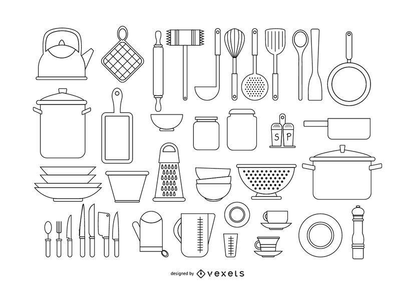 Bonito Herramienta De Diseño De La Cocina Viñeta - Ideas de ...