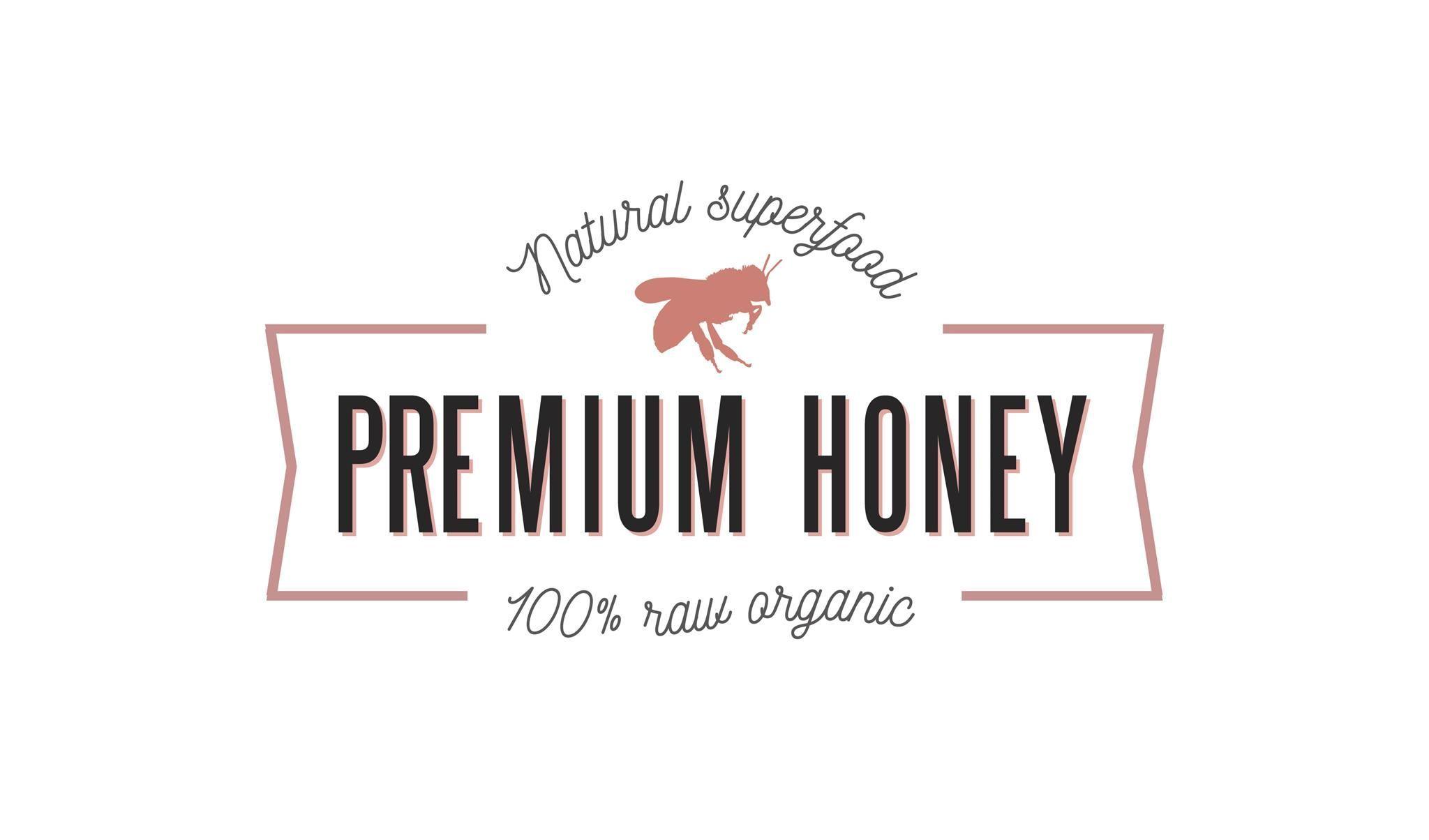 Premium honey ribbon logo template