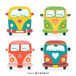 Conjunto de ilustración de autobuses hippie