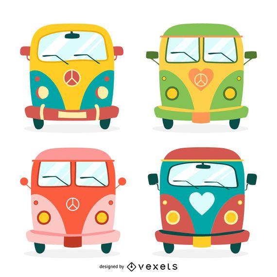 Conjunto de ilustração de ônibus hippie