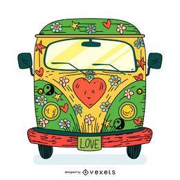 Ilustração dos desenhos animados de ônibus hippie