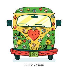 Ilustração dos desenhos animados do ônibus hippie