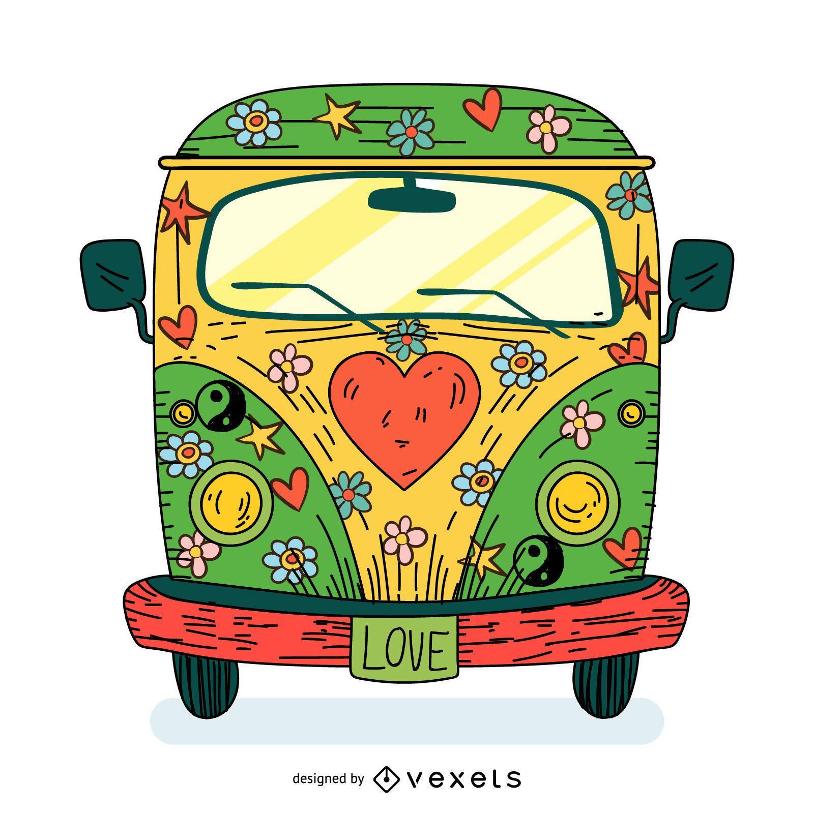 Ilustración de dibujos animados de autobús hippie