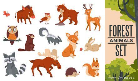 Conjunto de animais da floresta