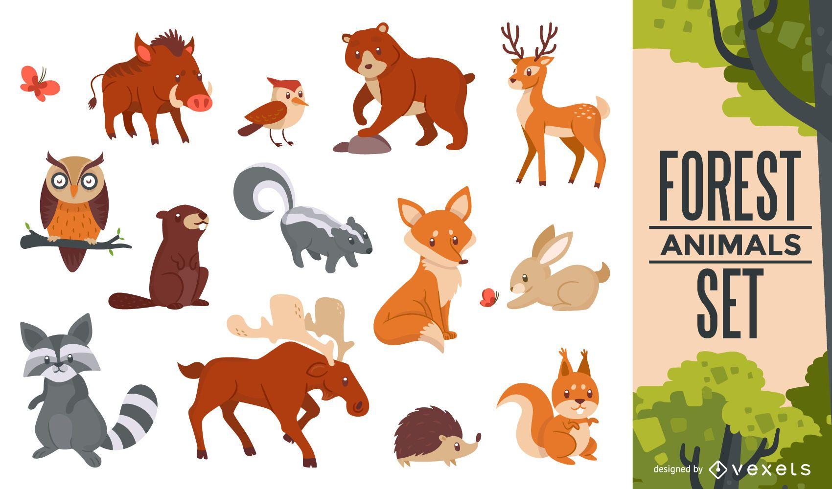 Conjunto de animales del bosque