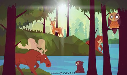 Forest lake animals landscape