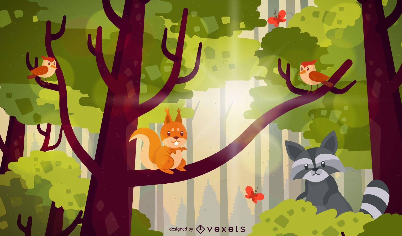 Forest trees animals illustration