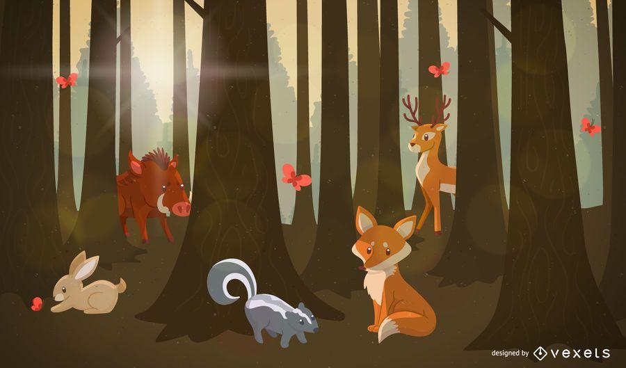 Paisagem de animais da floresta