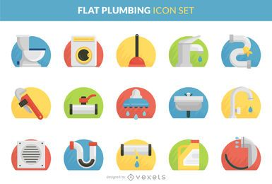 Plumbing flat icon set