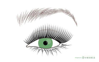 Olho de mulher e ilustração de cílios
