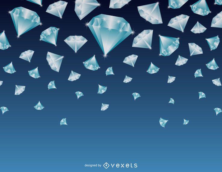 Fondo de diamantes en caída
