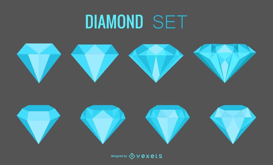 Conjunto de gemas de diamante.