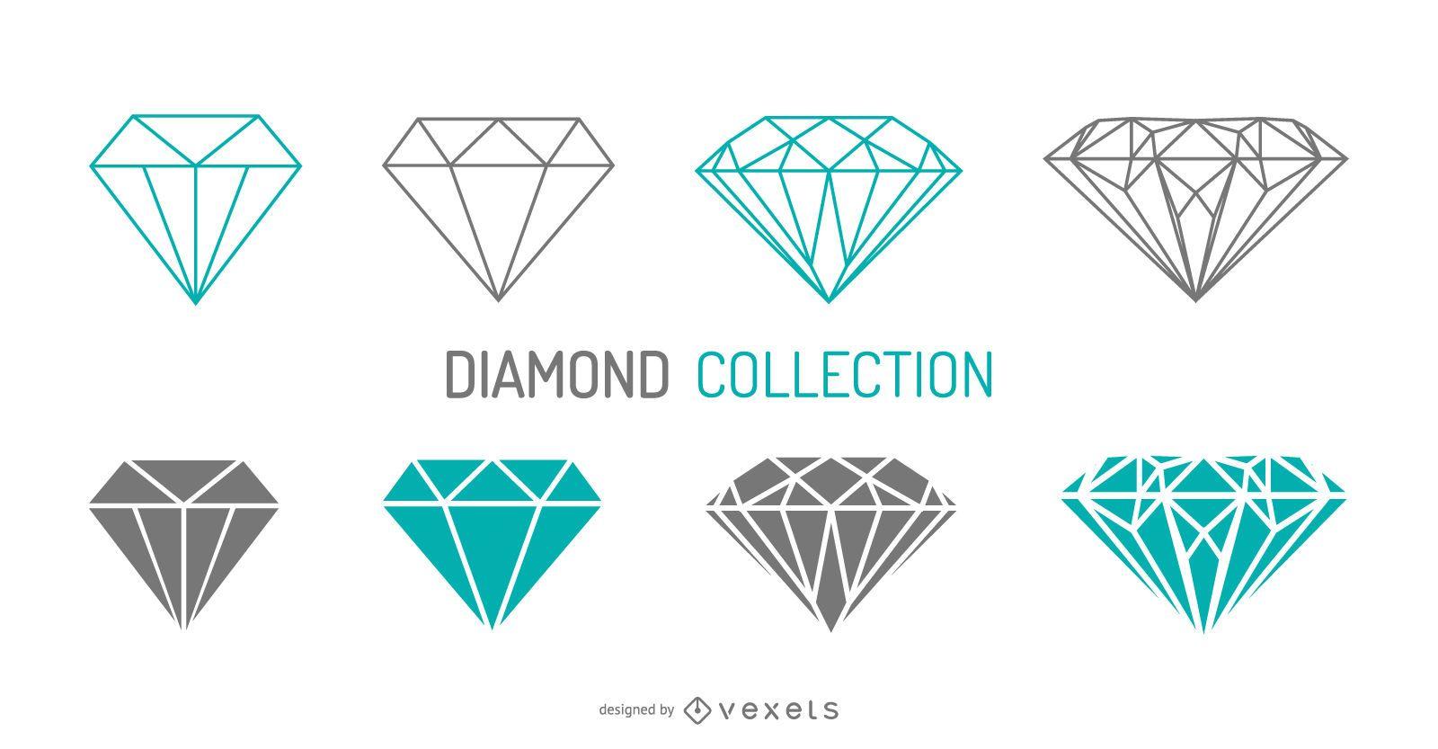 Conjunto de diamantes de trazo