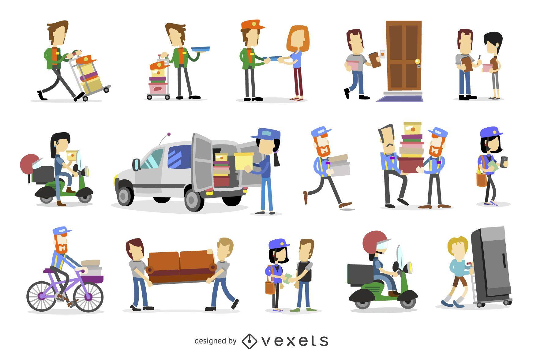 Delivery illustration set