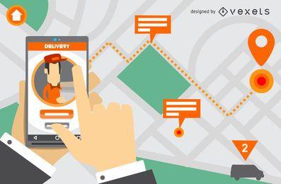 Diseño de pantalla de la aplicación de entrega