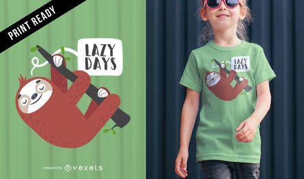 Design fofo de camiseta preguiça