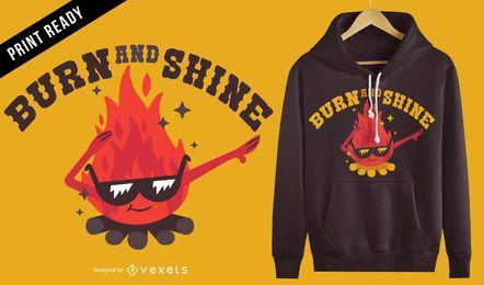 Diseño de camiseta fogata de fuego.