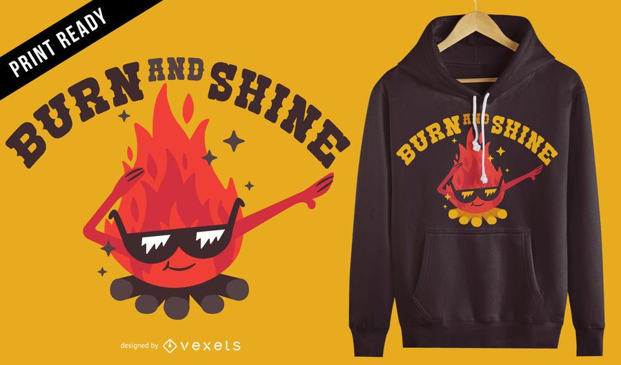Design de t-shirt de fogo de fogueira