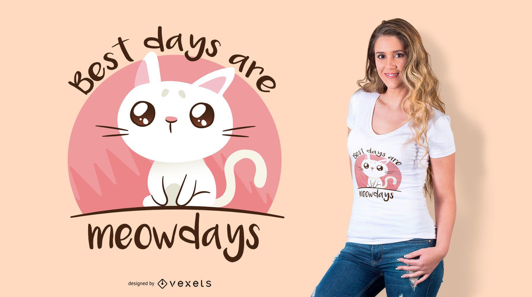 Meowdays cat t-shirt design