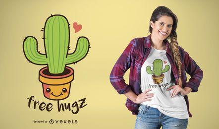 Diseño de camiseta cactus abrazos