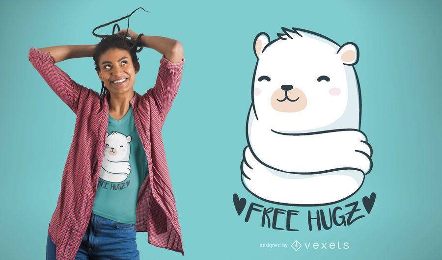 Projeto do t-shirt dos abraços de urso