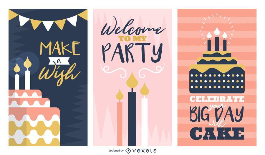 Set de tarjetas de felicitación de cumpleaños