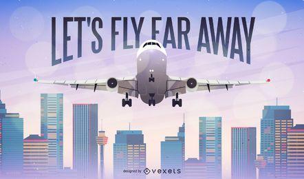 Avión lejos de fondo