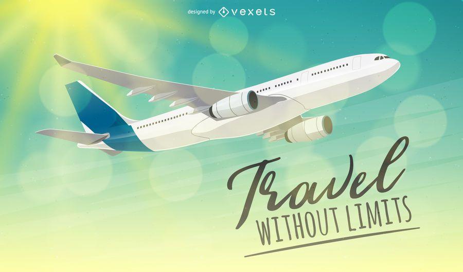 Avião voando através da ilustração do céu