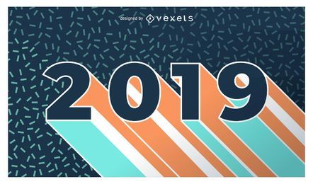 Banner de diseño plano de año nuevo 2019