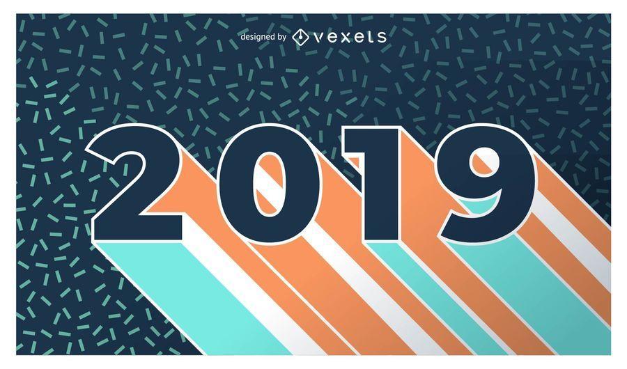 New Year 2019 Flat Design Banner