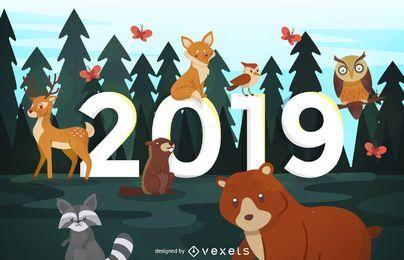Año nuevo bosque diseño animales