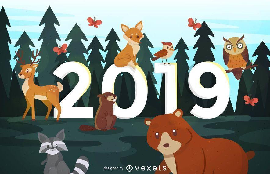 Diseño de animales del bosque de año nuevo