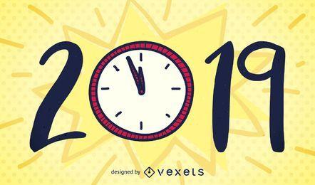 Diseño de reloj de año nuevo
