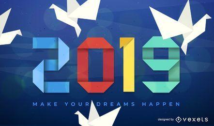 Diseño de origami de año nuevo 2019