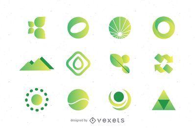 Grüne Logos setzen Sammlung