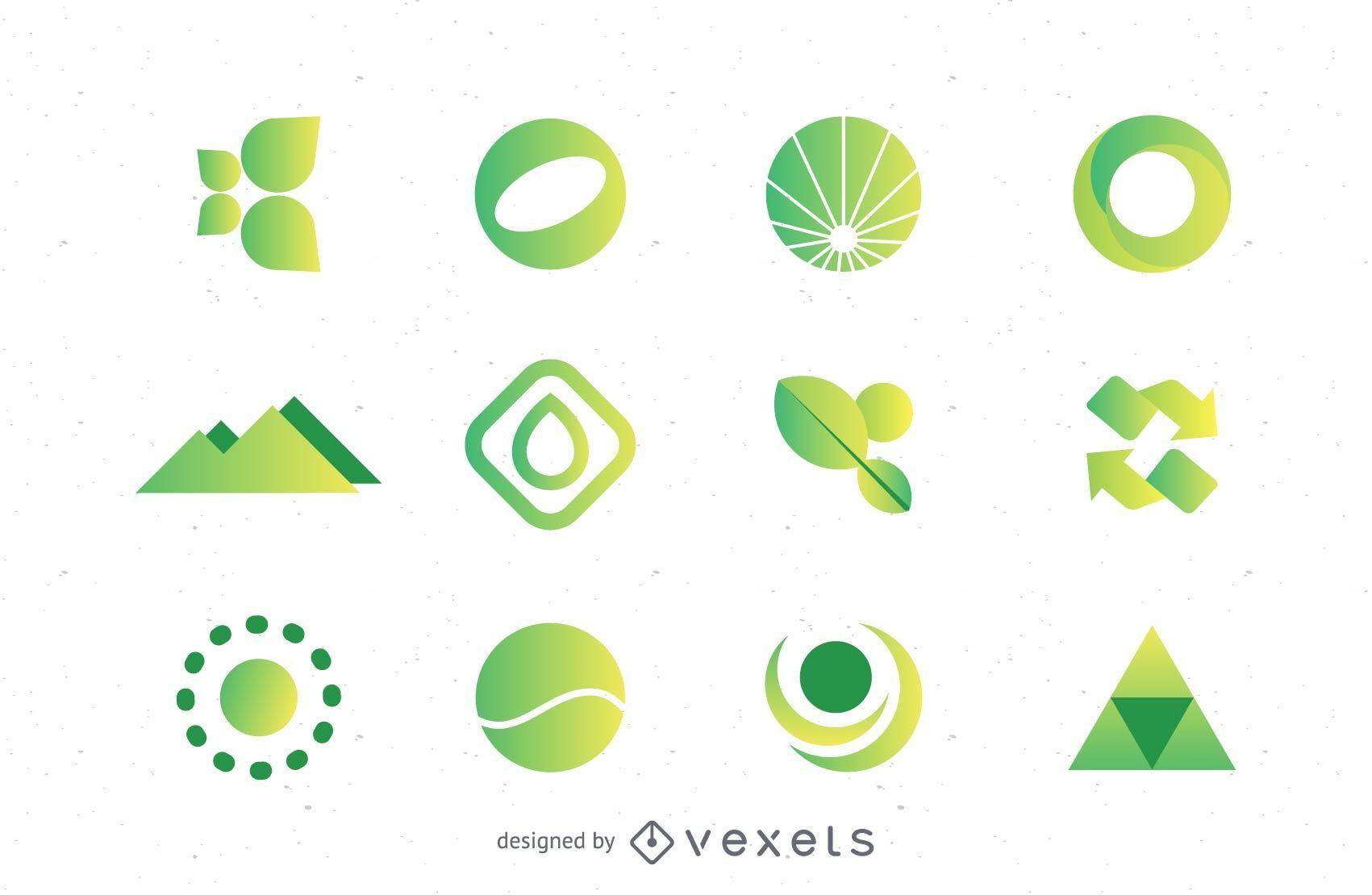 Coleção de conjunto de logotipos verdes