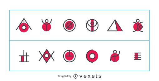 Conjunto de logotipo abstracto