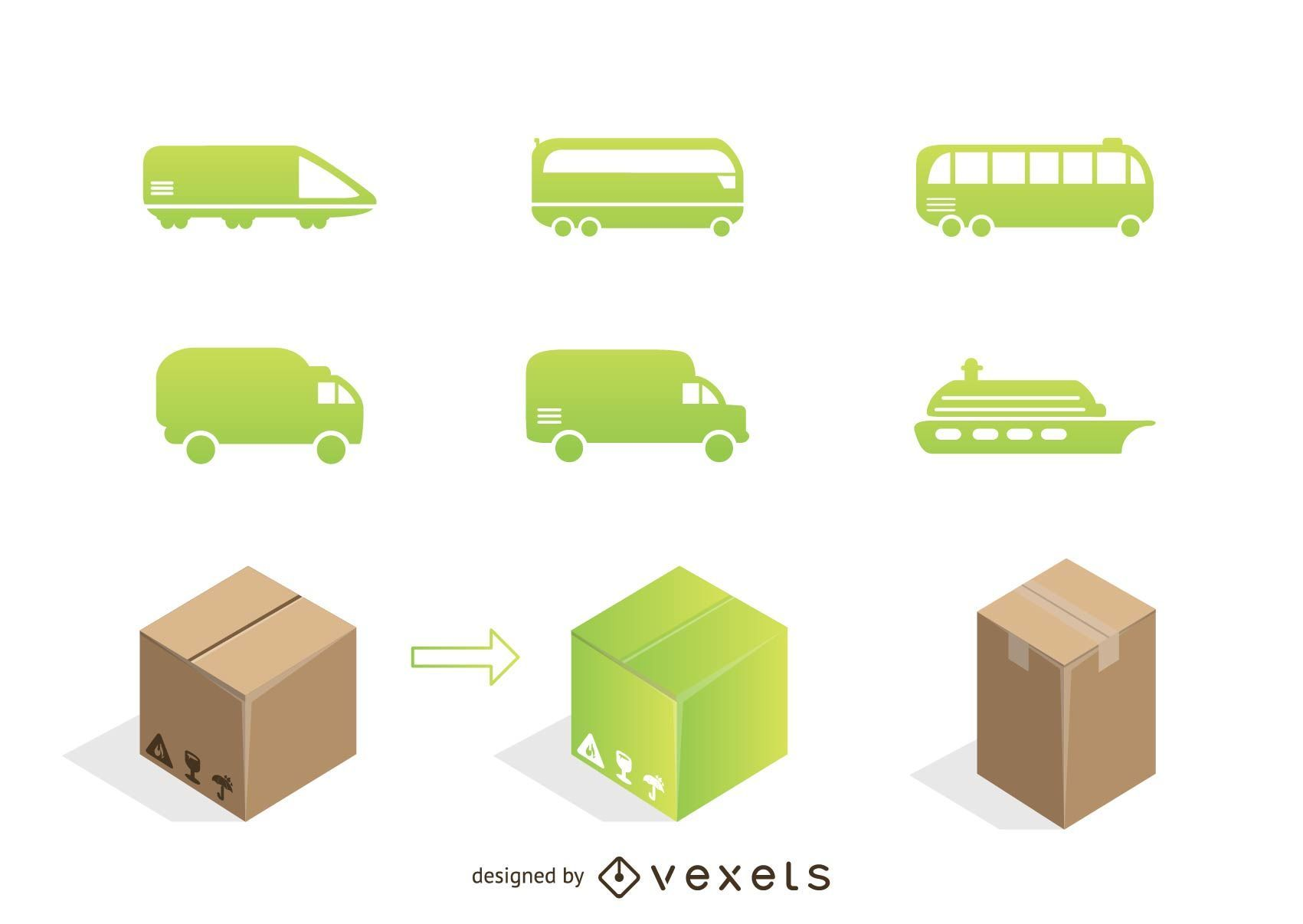 Transportation logo set