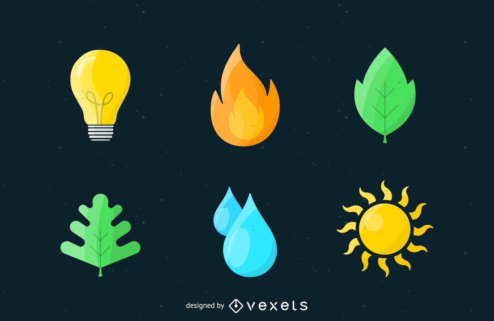 Conjunto de logotipo de iconos de naturaleza