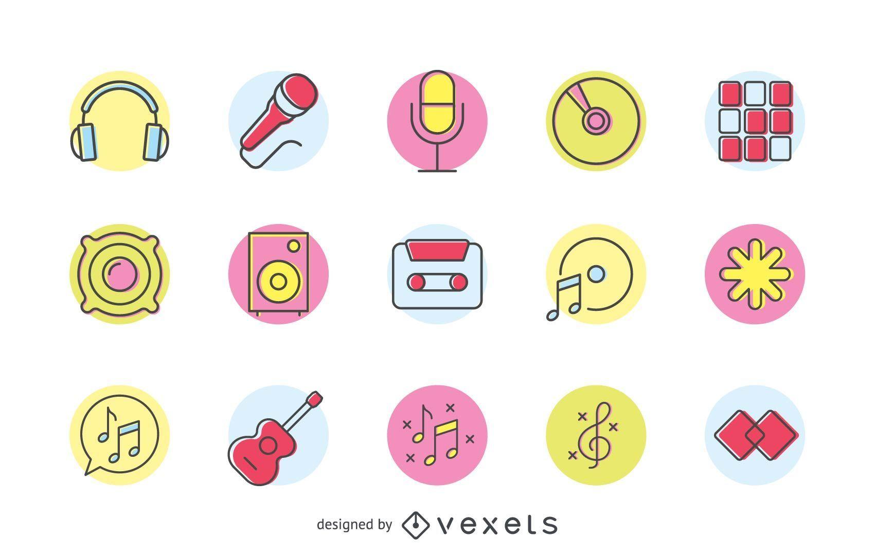 Conjunto de logo musical colorido