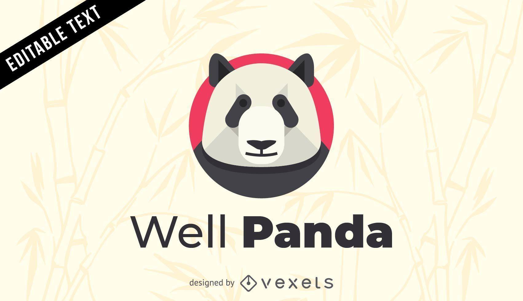 well panda logo template vector download