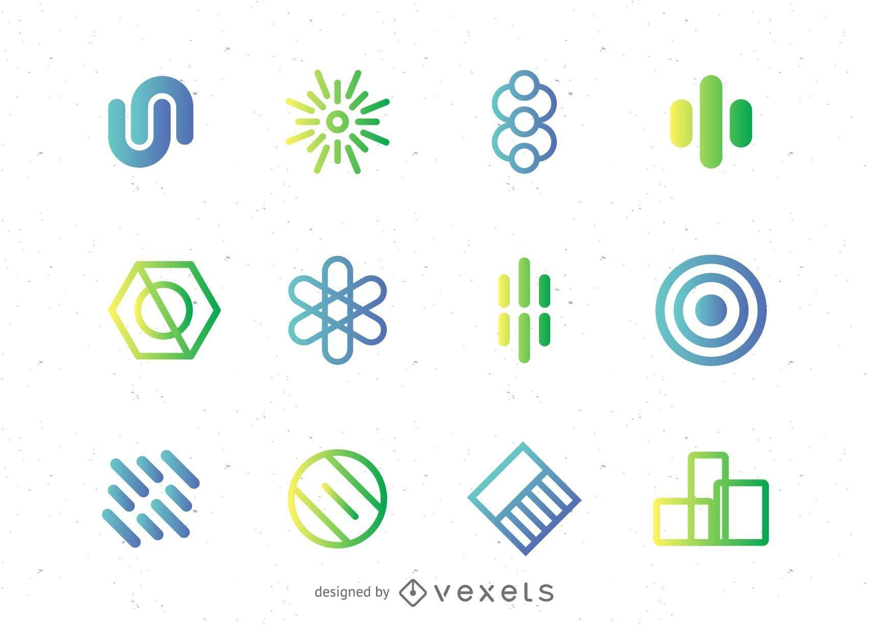 Conjunto de elementos abstratos do logotipo