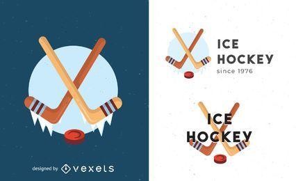 Modelo de logotipo de hóquei no gelo