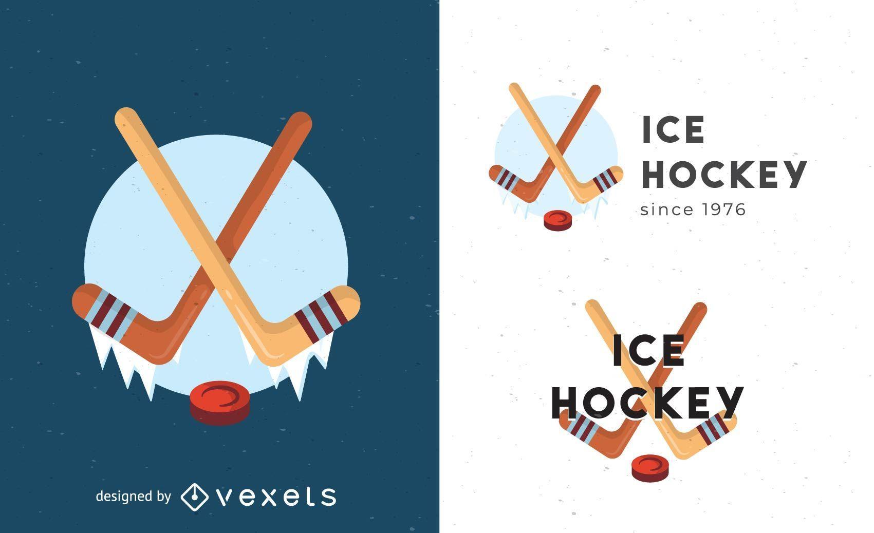 Plantilla de logotipo de hockey sobre hielo