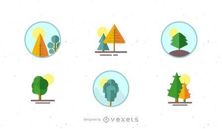Conjunto de logotipo de paisaje de naturaleza