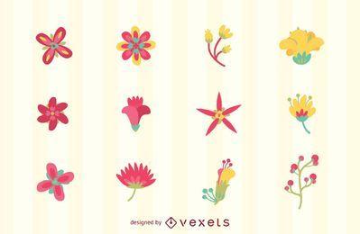 Logo de flor set tempates