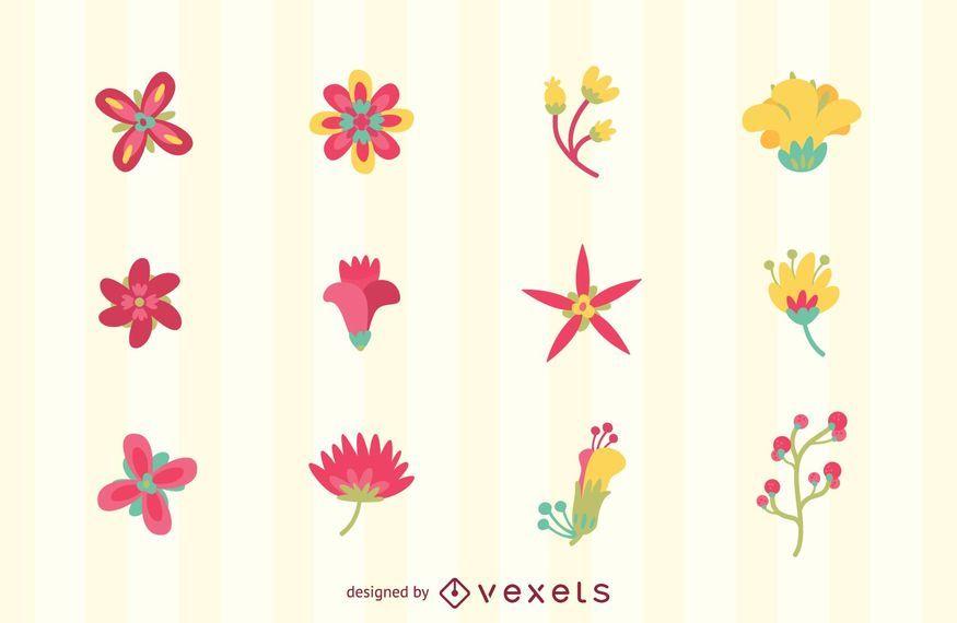 Conjunto de logotipos de flores